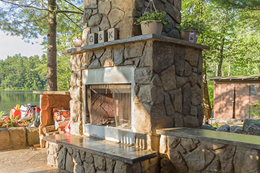 outdoor wood burning patio fireplace in Madison Wisconsin